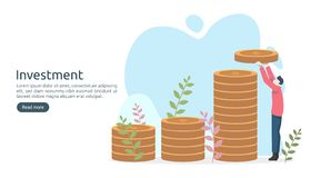 Business investment concept. dollar pile coin, tiny people, money object. graphic chart increase. Financial growth rising up to royalty free illustration