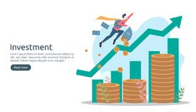 Business investment concept. dollar pile coin, tiny people, money object. graphic chart increase. Financial growth rising up to stock illustration