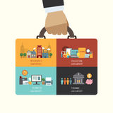 Business investment concept infographic businessman hand hold bu Royalty Free Stock Photo