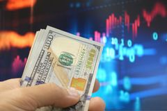 Business investment concept with money and market. stock image