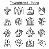 Business Investment icon set in thin line style Royalty Free Stock Image