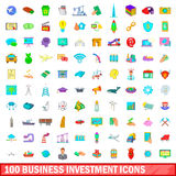 100 business investment icons set, cartoon style. 100 business investment icons set in cartoon style for any design vector illustration Royalty Free Stock Photography