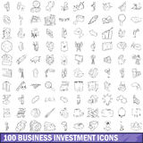 100 business investment icons set, outline style Royalty Free Stock Photos