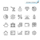 Business and investment outline icon set. Editable stroke. Pixel perfect. Easy to resize royalty free illustration