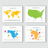 Business Investment slide set of USA, North America, Africa Maps Presentation slide Template, Business Layout design. Royalty Free Stock Photography