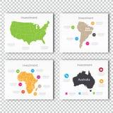 Business Investment slide set of USA, North America, Africa Maps Presentation slide Template Stock Image