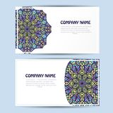 Business  and invitation card with lace ornament. Vector background Stock Photos