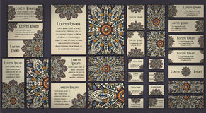 Business and invitation template Cards set with mandala ornament. Vintage decorative elements. Islam, Arabic, Indian, ottoman moti Royalty Free Stock Photography