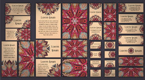Business and invitation template Cards set with mandala ornament. Vintage decorative elements. Islam, Arabic, Indian, ottoman moti Stock Image