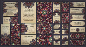 Business and invitation template Cards set with mandala ornament. Vintage decorative elements. Islam, Arabic, Indian, ottoman moti Royalty Free Stock Images