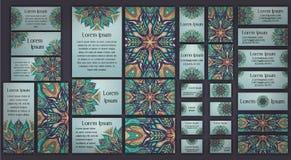 Business and invitation template Cards set with mandala ornament. Vintage decorative elements. Islam, Arabic, Indian, ottoman moti Stock Photo
