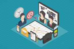 Business isometric 3d icons. Royalty Free Stock Photos