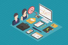 Business isometric 3d icons. Stock Image