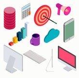 Business isometric elements set . Royalty Free Stock Images