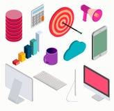 Business isometric elements set . Royalty Free Stock Images