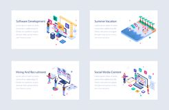 Business Isometric Vector Illustrations Collection royalty free stock image