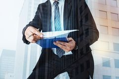 Close up of businessmans notes Stock Images