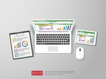 Business item in flat style workplace design concept. top view of laptop , report, and tablet with spreadsheet. office things for. Planning and accounting Stock Image