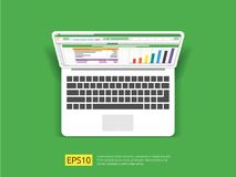 Business item in flat style workplace design concept. top view of laptop , report, and tablet with spreadsheet. office things for. Planning and accounting Stock Photo