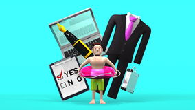 Business Item And Man Who Is In Vacation On Blue Stock Image