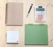 Business   Item Set On  Wooden Stock Photo