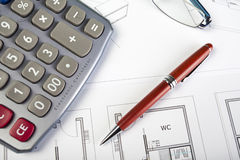 Business items and architect drawings Stock Image