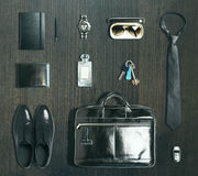 Business items on dark wood. En surface. 3D render Royalty Free Stock Photography