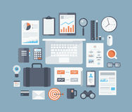 Business items flat icons set Royalty Free Stock Photos