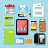 Business items and mobile devices. Set of tablet phone notebook plastic card vector illustration Royalty Free Stock Image