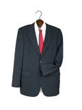 Business jacket, shirt and tie on wooden hanger -  Stock Image
