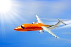 Business jet. Illustration of orange business or private jet with blue sky and sunshine background Royalty Free Stock Photos