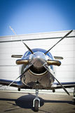 Business Jet. Front of view of the business jet Stock Photo