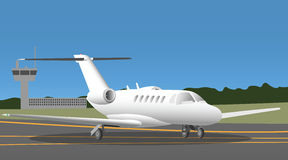 Business jet in the airport Royalty Free Stock Image