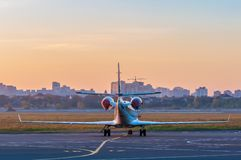 Business jet on the apron for aircraft. The plane Stock Photo