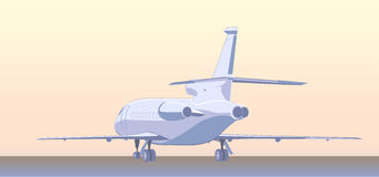 Business jet (bizjet or BJ). Back  view. Vector illustration Stock Photo