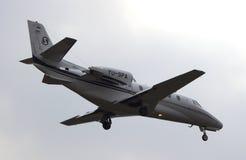 Business Jet Cessna 560XL landing. Cessna 560XL Citation XLS (YU-SPA) landing at Kharkiv International Airport Stock Photography