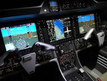 Business Jet Cockpit. Cockpit of a modern business jet