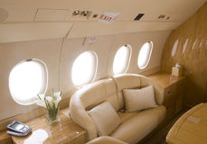 Business jet interior royalty free stock photography