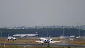 Business Jet landing in Frankfurt. Frankfurt Am Main, Germany - July 20, 2017: Embraer EMB-135BJ Legacy 600, G-GLEG, London Executive Aviation. Fraport stock footage
