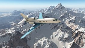 Business jet over the mountains Stock Images
