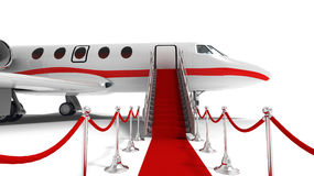 Business jet. And red carpet on white background stock illustration
