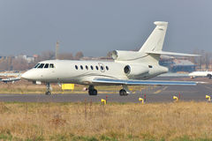 Business jet on runway Royalty Free Stock Image