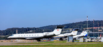 Business jets in Zurich airport Royalty Free Stock Images