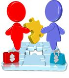 Business Jigsaw. Three dimension style and high quality image Royalty Free Stock Photography