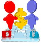 Business Jigsaw. Three dimension style and high quality image Royalty Free Stock Image