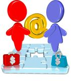 Business Jigsaw. Three dimension style and high quality image Stock Photo