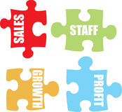 Business jigsaw colour. Four jigsaw pieces in pastel colours showing business metaphor for communication Royalty Free Stock Photo