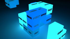 Business jigsaw. Iluminated blocks. Stock Photo