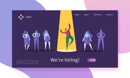 Business Job Recruitment Concept Landing Page. Employer Choosing Professional Man Character of Candidate Group. Hiring. Human Resources Website or Web Page stock illustration