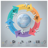 Business Journey With Global Arrow Airline Continent Diagram. Design Template Royalty Free Stock Images